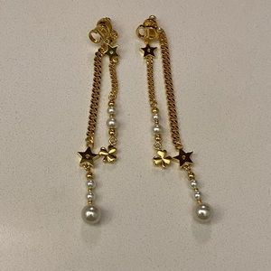 Authentic Dior Earrings Long Dangly Pearls
